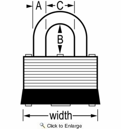 """Master Lock 22D  1-1/2"""" Wide Laminated Warded Padlock with 5/8"""" Shackle Height"""