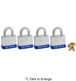 """Master Lock 3008D  1-9/16"""" Wide Laminated Padlocks with 3/4"""" Shackle Height - 4 per Package All Keyed Alike"""