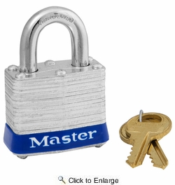 "Master Lock 3D  1-9/16"" Wide Laminated Padlock with 3/4"" Shackle Height"
