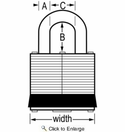 "Master Lock 3T  1-9/16"" Wide Laminated Padlocks with 3/4"" Shackle Height - 2 per Package Both Keyed Alike"