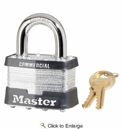 "Master Lock 5KA-A204  2"" Wide Keyed Alike Commercial Grade Laminated Padlock with 1"" Shackle Height - Keyed to A204 Key Code"