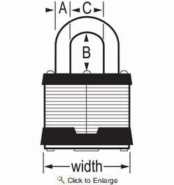 "Master Lock 5KA-A389  2"" Wide Keyed Alike Commercial Grade Laminated Padlock with 1"" Shackle Height - Keyed to A389 Key Code"