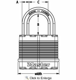 "Master Lock M1XDHC  Magnum 1-3/4"" Wide Laminated Padlock with Tough-Cut Octagonal Shackle 1"" Height"