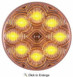 "Maxxima M16280YCL  2-1/2"" Round Clear Lens Amber Clearance/Marker Light  8 LED's New Circular Pattern"
