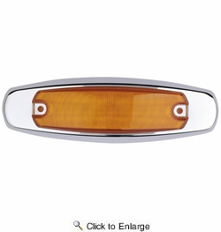 """Maxxima M20332Y  6"""" Amber Clearance Marker Light """"Peterbilt Style"""" Stainless Steel Bezel 12 LED's"""