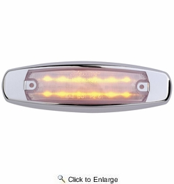 """Maxxima M20332YCL  6"""" Clear Lens Amber Clearance Marker Light """"Peterbilt Style"""" Stainless Steel Bezel 12 LED's"""