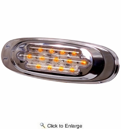 Maxxima M72270YCL  Chrome Oval Clear Lens Amber Clearance Marker Light 13 LED's