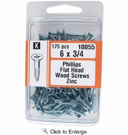 "Midwest Fastener 10055  #6 x 3/4"" Phillips Flat Head Wood Screws Zinc Plated - 175 per Package"