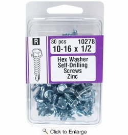 """Midwest Fastener 10278  #10 x 1/2"""" Hex Washer Head Self-Drilling Screws Zinc Plated - 80 per Package"""