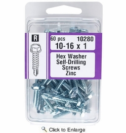 """Midwest Fastener 10280  #10 x 1"""" Hex Washer Head Self-Drilling Screws Zinc Plated - 60 per Package"""