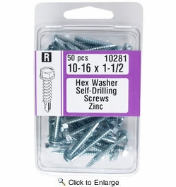 "Midwest Fastener 10281  #10 x 1-1/2"" Hex Washer Head Self-Drilling Screws Zinc Plated - 50 per Package"