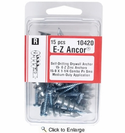 Midwest Fastener 10420  #8 E-Z Ancor Self-Drilling Zinc Drywall Anchors with Screws - 15 per Package