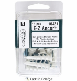 Midwest Fastener 10421  #8 E-Z Ancor Self-Drilling Plastic Drywall Anchors with Screws - 15 per Package
