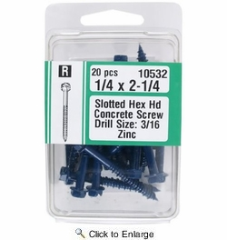 """Midwest Fastener 10532  1/4"""" x 2-1/4"""" Slotted Hex Head Concrete Screws - 20 per Package"""
