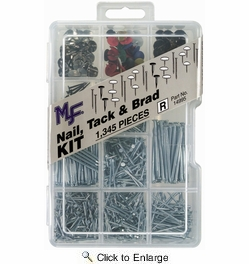 Midwest Fastener 14995  1345 Piece Assorted Nail, Tack & Brad Project Kit