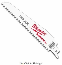 """Milwaukee 48-00-5021  6"""" x 5/8 TPI The Ax Sawzall Blade for Wood Cutting 5 Blades per Pack"""