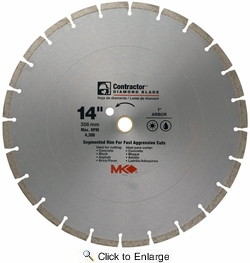 "MK Diamond 167019  14"" x 1"" Contractor Quality Wet/Dry Cutting Segmented Rim Diamond Blade for Masonry"