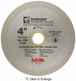 """MK Diamond 167027  4"""" x 5/8"""" Contractor Quality Wet Cutting Continuous Rim Diamond Blade for Tile / Marble"""
