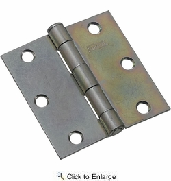 """National  N195-651  Removable Pin 3"""" Broad Hinge - Zinc Plated - 2 Per Package (V504)"""