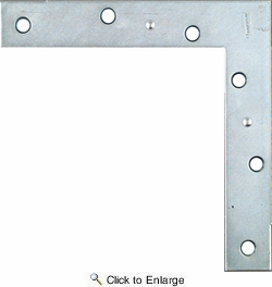 "National N204-990  6"" Flat Corner Brace - Zinc Plated"