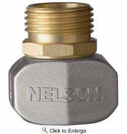 """Nelson 855204-1001  5/8"""" - 3/4"""" Hose Repair Male Connector / Coupler End - Brass with Metal Clamp (50520)"""