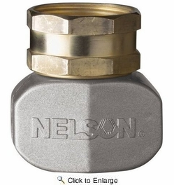 """Nelson 855214-1001  5/8"""" - 3/4"""" Hose Repair Female Connector / Coupler End - Brass with Metal Clamp (50521)"""