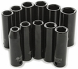 "Performance Tool M591DB  11 Piece 1/2"" Drive Metric Deep Impact Socket Set - 10 to 22mm"