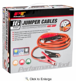 Performance Tool W1672  6 Gauge 16 Foot Jumper Cables