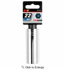 "Performance Tool W32422  1/2"" Drive 22mm 6 Point Deep Well Socket"