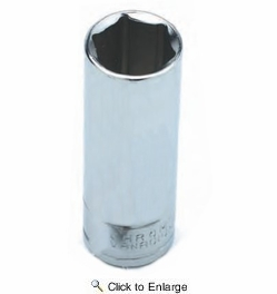 """Performance Tool W36312  3/8"""" SAE Size 6 Point 1/4"""" Drive Deep Well Socket"""