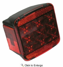 Peterson V840L LED Stop/Tail/Turn Trailer Light Red W/License Bracket
