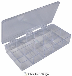 "Pico 0003A  7"" x 3-3/4"" x 1-1/4"" Empty 9 Compartment Styrene Plastic Kit Box"
