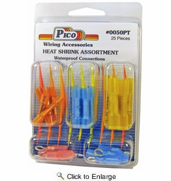 Pico 0050PT  25 Piece Crimp & Heat Shrink Butt Connector and Assorted Ring Terminal Kit (22-16, 16-14 & 12-10 AWG)