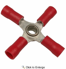 Pico 1721D  22-16 AWG(Red)  Flared Vinyl Insulated Electrical Wiring 4-Way Electrical Wiring Connectors 2 Per Package