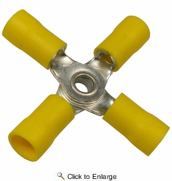 Pico 1921A  12-10 AWG(Yellow)  Flared Vinyl Insulated Electrical Wiring 4-Way Electrical Wiring Connectors 100 Per Package