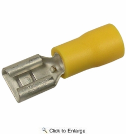 "Pico 1955G  12-10 AWG(Yellow)  Flared Vinyl Insulated Electrical Wiring 0.250"" Tab Female Quick Connect Receptacle Terminal 100 Per Package"