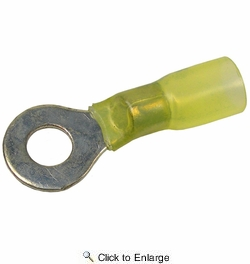 """Pico 2232A  12-10 AWG Electrical Wiring Heat Shrink 1/4"""" Ring / Eye Terminals 100 Per Package"""