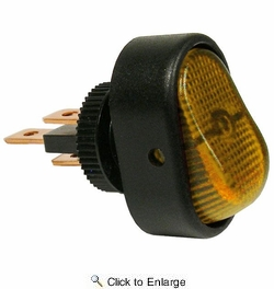 Pico 5582PT  12 Volt 25 Amp On-Off Amber Illuminated Oval Rocker Switch SPST