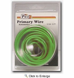 Pico 81124PT  12 AWG Green Primary Wire 12' per Package
