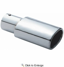 "Pilot Automotive PMZ-011  Chrome Oval Style Exhaust Tip - 2-1/8"" Inlet x 6"" Length"