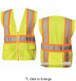PIP 302-MAPLY/M  Hi-Visiblity Solid Safety Vest Class 2 - Lime Yellow - Medium
