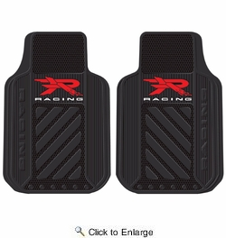 "PlastiColor 1466R04  Universal-Fit Molded ""R"" Racing Elite Series Front Floor Mat - Set of 2"