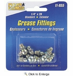 """Plews / LubriMatic 11-955  8 Piece Assorted Grease Fittings - SAE 1/4""""-28"""