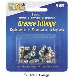 Plews / LubriMatic 11-957  8 Piece Assorted Grease Fittings - Metric 6mm x 1