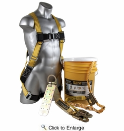Qual-Craft 00815  Bucket of Safe-Tie Fall Arrest Kit with 50' Life Line