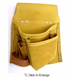 R & J Leathercraft 42321  5 Pocket Leather Pro Tool Pouch - Left Hand (423L)