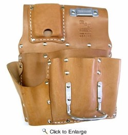 R & J Leathercraft 48515  7 Pocket Leather Drywall Tool Pouch - Right Hand (485MR)