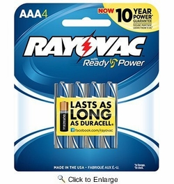 Rayovac  824-4J  Alkaline 'AAA'  Batteries - 4 Per Package