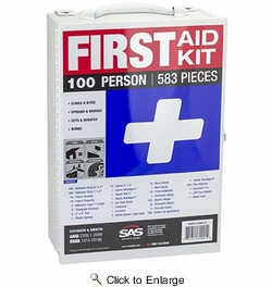 SAS Safety 6099-01  100-Person First Aid Kit in Metal Cabinet