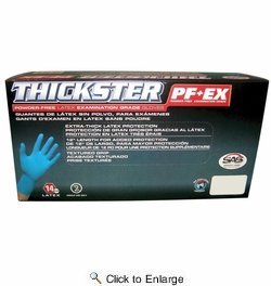 SAS Safety 6604-20  Thickster 14 mil Powder-Free Exam Grade Disposable Latex Gloves - X-Large (50 Gloves per Box)